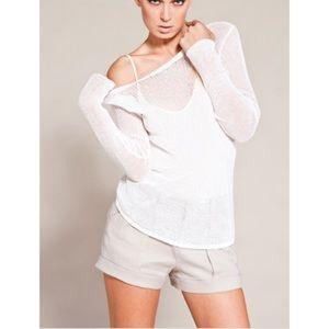 Helmut Lang White Pannelled Lace linen Blouse Top